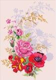Rose ansd Mohnblumeblumenstrauß mit Schatten Lizenzfreies Stockfoto