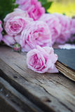 Rose and an antique book. Pink rose and an antique book lying on the old boards Royalty Free Stock Image