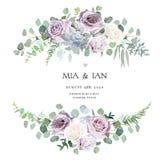Rose antique de lavande, crémeuse et mauve violette poussiéreuse, fleurs pâles pourpres illustration libre de droits