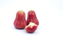Rose apple isolated on the white background. Fruit on white, some fruits are bite Stock Image
