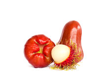Rose apple and rambutan isolated on white. Background Stock Photos