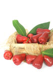 Rose apples on wooden crate Royalty Free Stock Images