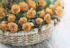 Rose arancio in un canestro di vimini illustrazione vettoriale
