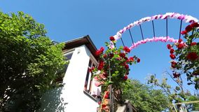 Rose Arch In the Garden stock footage