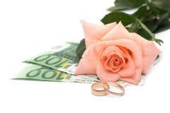 Rose, argent et boucles Photographie stock