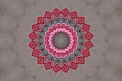 Rose   armchairs seen through kaleidoscope. Digital art design. Abstract colorful  texture of rose   armchairs  on grey carpet Royalty Free Stock Image