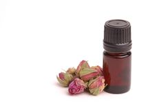 Rose Aromatherapy. Bottle of Rose Essential Oil Stock Images