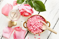 Rose aromatherapy products, top view Stock Photography