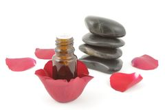 Rose aromatherapy and spa stones Royalty Free Stock Photography