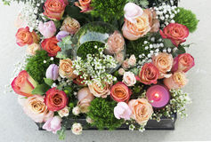 Rose arrangement for Valentine's Day. No other flower is recognizable as the rose. No other flower conveys love and passion like the rose either Stock Photos
