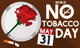 Rose, Ashtray, Broken Cigarette and Calendar for No Tobacco Day, Vector Illustration. Banner with rose, ashtray, broken cigarette and loose-leaf calendar view Stock Image