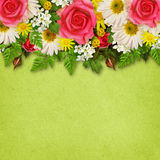 Rose, asters and wild flowers decoration for background Stock Image