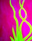 Rose au néon et lignes onduleuses abstraites jaunes main de chaux Photo libre de droits