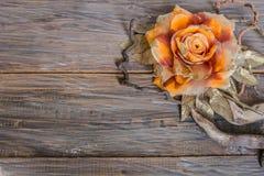 Rose auf altem hölzernem Hintergrund Stockbilder