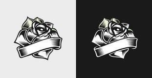 Rose auf einem schwarzen Hintergrund stock abbildung