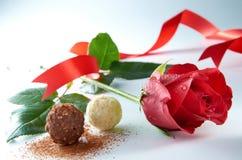 Rose avec du chocolat photographie stock libre de droits