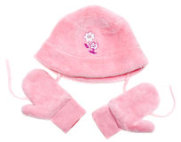 Rose baby set from hat and mittens Stock Photo