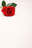 Rose background. Single red rose on paper background Stock Images
