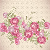 Rose Background with Birds and Butterflies Stock Photo