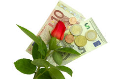 Rose, banknotes and coins Royalty Free Stock Photography