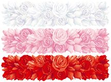 Rose banners. Three Vector banners with many  red, pink and white roses Stock Photos