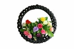 Rose basket. Isolated on white stock photos