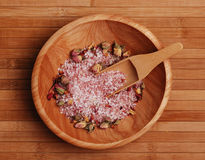 Rose Bath Salt. S with rose buds on bamboo Royalty Free Stock Photos