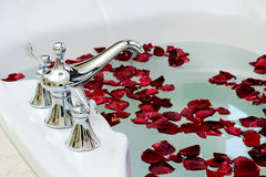 Rose bathtub. Bathtub closeup with rose petals Royalty Free Stock Photo