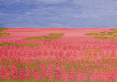 Rose-bay meadow, painting. Oil painting, summer landscape with rose-bay meadow (willow-herb, fireweed Royalty Free Stock Photography