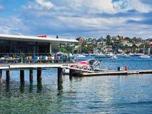 Rose Bay Sea Plane Base en Koffie, Sydney, Australië stock afbeelding