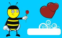 Rose Bee catoon expression background Royalty Free Stock Photos