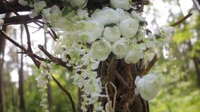 Rose bianche adorabili del cespuglio Fiori bianchi ornamentali sul sole luminoso Rose tenere in giardino Belle rose con verde Fotografia Stock