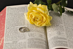 Rose and the bible rings Stock Photos