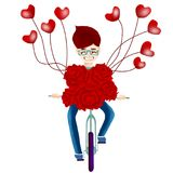 Rose bicycle heart balloon lover Valentine`s Day vector. Valentine`s Day bicycle full of roses and heart balloon to lover vector Royalty Free Stock Photo