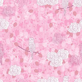 Rose bird abstract seamless pattern Royalty Free Stock Image