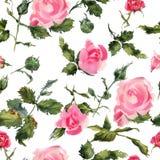 Rose blüht das nahtlose leichte Muster des handgemachten Aquarells Stockbild