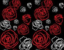 Rose on black background seamless Royalty Free Stock Images