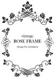 Rose black vintage frame. Ornamental frame with roses. Solemn floral element for design banner,invitation, leaflet, card, poster and so on. Wedding or jubilee Royalty Free Stock Photography