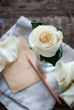 Rose blanche dans le verre et la lettre avec le crayon Amour de message vous Images libres de droits