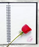 Rose on blank notepad. Red rose on blank notepad with lipstick mark Royalty Free Stock Images