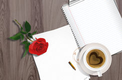 Rose and the blank paper Stock Photo