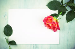 Rose and blank sheet Stock Images
