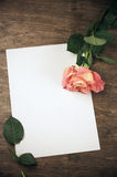 Rose and blank sheet Royalty Free Stock Photography