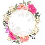 Rose, Blatt-Hochzeits-Aquarell-Kranz, Blumensträuße, das Feld, das, Blumenanordnung mit Blumen ist, verzieren, handgemalt vektor abbildung