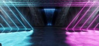 Rose bleu pourpre rougeoyant au néon Violet Path Track Gate Entrance Sci fi de fond d'étape de construction de triangle vibrante  illustration stock