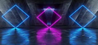 Rose bleu pourpre rougeoyant au n?on Violet Path Track Gate Entrance Sci fi de fond d'?tape de construction de triangle vibrante  illustration de vecteur