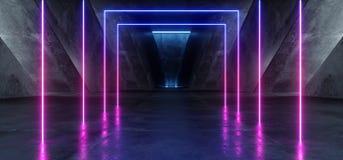 Rose bleu pourpre rougeoyant au n?on Violet Path Track Gate Entrance Sci fi de fond d'?tape de construction de triangle vibrante  illustration stock