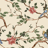 Rose blossom branches with bird seamless pattern Royalty Free Stock Images