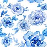 Rose blu acquerello dipinto a mano, illustrazione d'annata Fotografia Stock