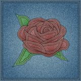 Rose on the blue jeans background. Vector eps10 Royalty Free Stock Photography